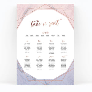 Serena Rose Gold Geometric Hexagon Blush Pink Wedding Table Plan