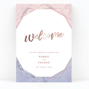 Serena Rose Gold Geometric Hexagon Blush Pink and Blue Wedding Welcome sign