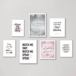 Set of 7 Hairdresser Quote Wall Prints
