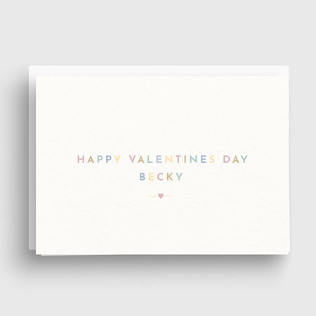 Pastel Text Personalised Valentines Day Card