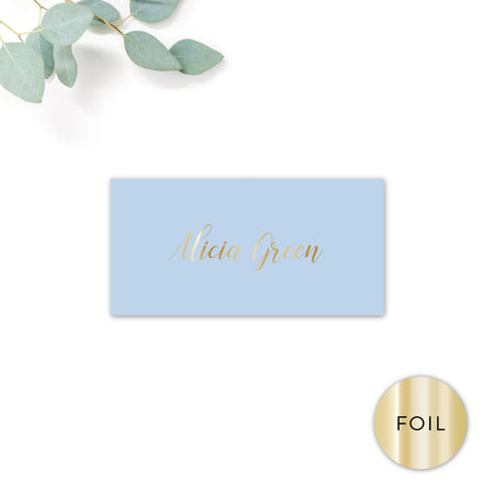 Sky Powder Blue and Gold Modern Wedding Place cards