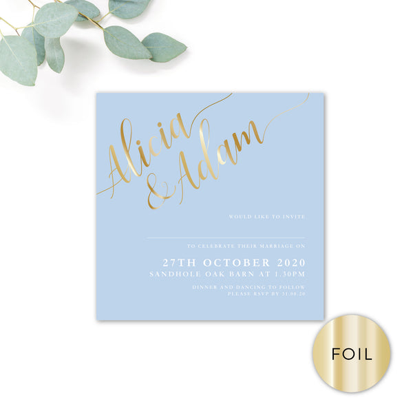 Sky Powder Blue and Gold Modern Wedding Invitation Square