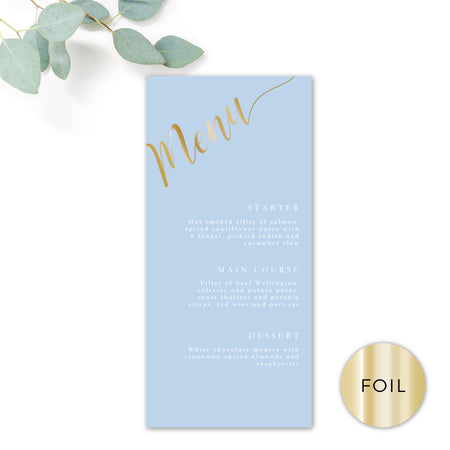Sky Powder Blue and Gold Modern Wedding Menu DL