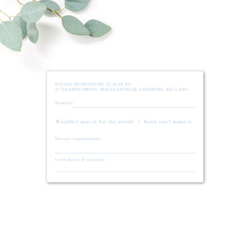 Sky Powder Blue and Gold Modern Wedding Invitation RSVP Card