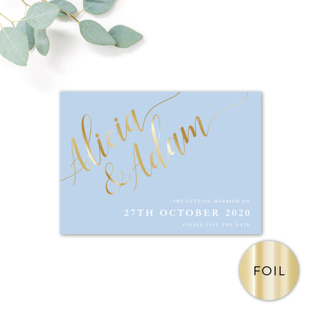 Sky Gold Foiled Personalised Save the Date