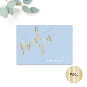 Sky Powder Blue and Gold Foil Modern Wedding Thank You Card