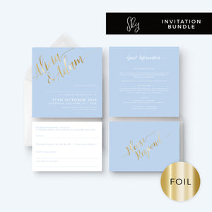 Sky Powder Blue and Gold Modern Wedding Invitation Bundle