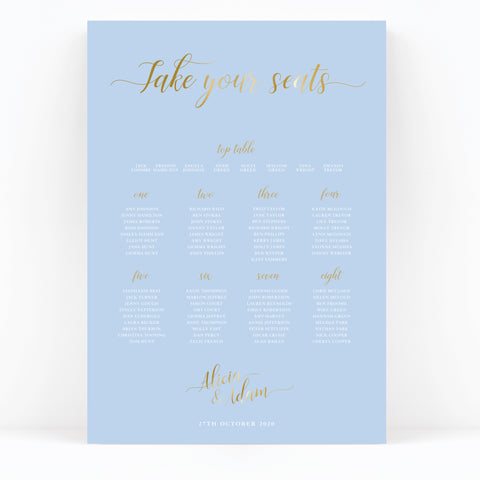 Sky Powder Blue and Gold Modern Wedding Table Plan