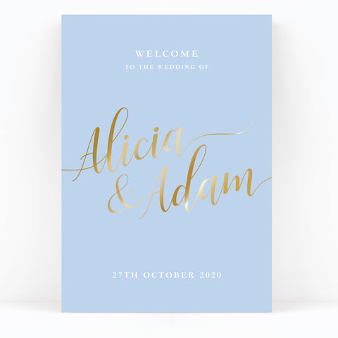 Sky Powder Blue and Gold Modern Wedding Welcome Sign