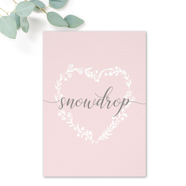 Snowdrop Blush Pink Table Names