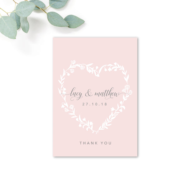Snowdrop Blush Pink Romantic Thank You Card