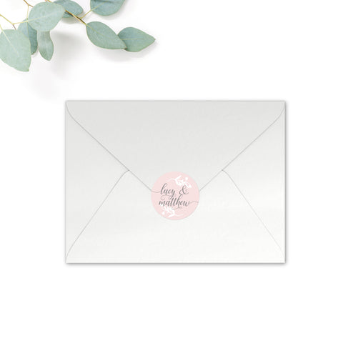 Snowdrop Personalised Round Wedding Seal Stickers for Envelopes