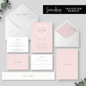 Snowdrop Blush Wedding Stationery Suite