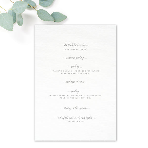 Snowdrop Blush Pink Romantic Order of Service