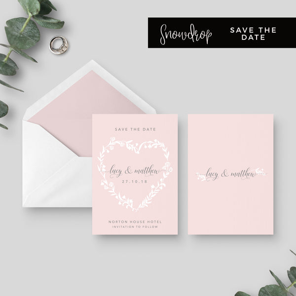 Snowdrop Blush Wedding Save the Date