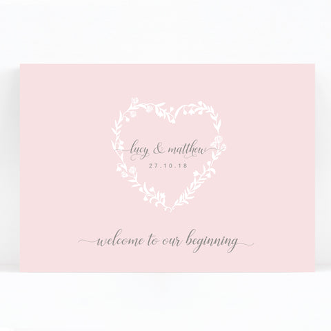 Snowdrop Blush Pink Romantic Wedding Welcome Sign