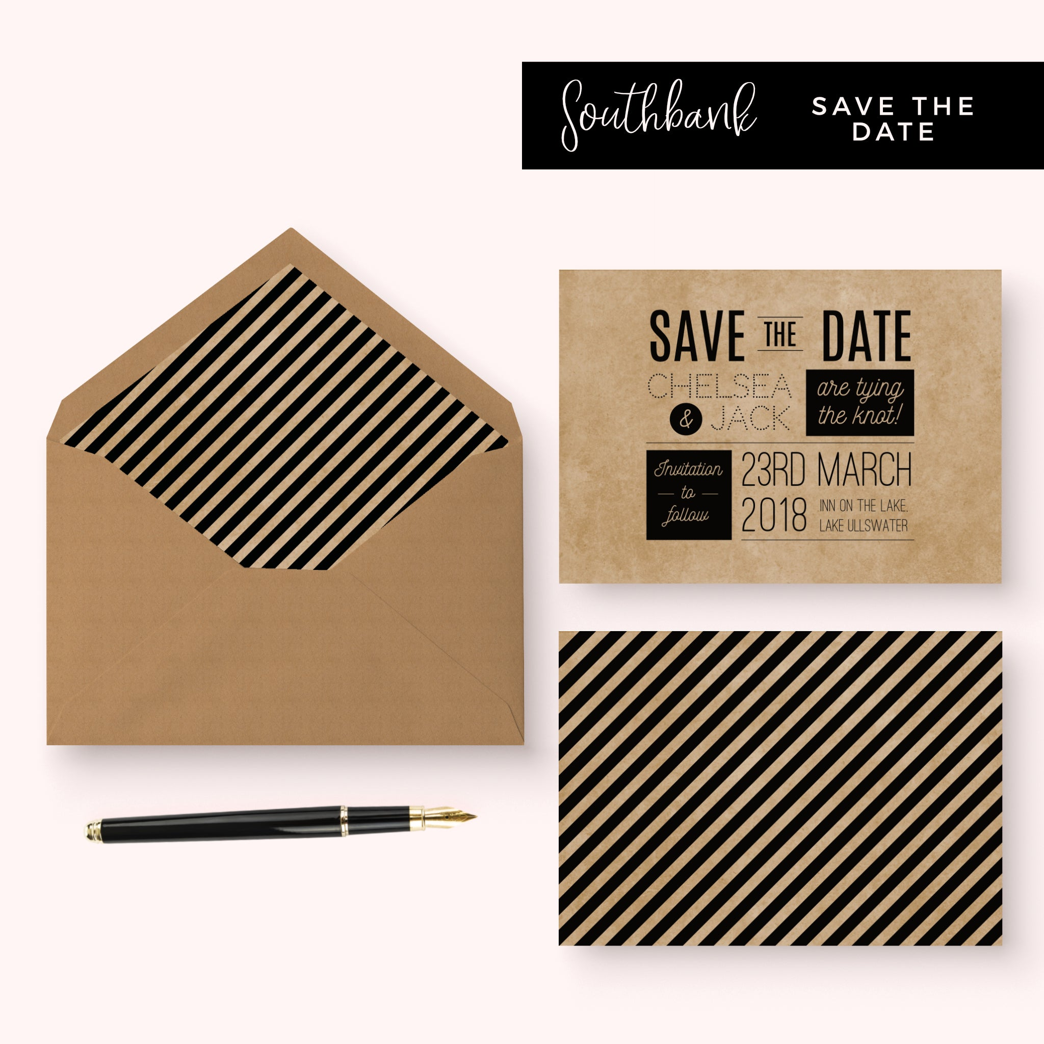 Southbank Kraft Save the Date Card
