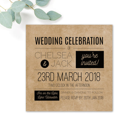 Southbank Kraft Wedding Invitation RSVP Card