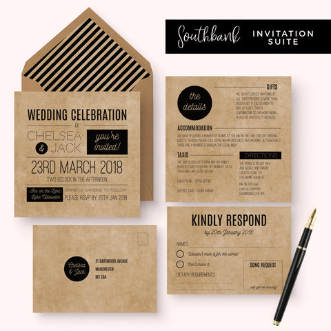 Southbank Kraft Wedding Invitation Suite