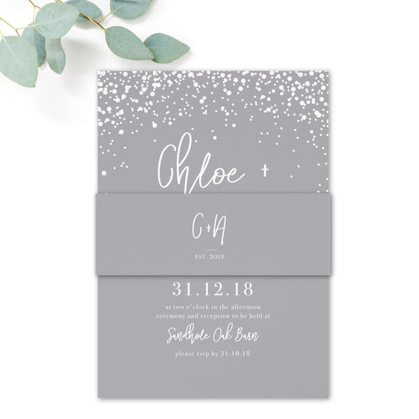 Stardust Wedding Invitation Belly Band