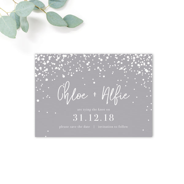 Stardust Grey Wedding Save the Date