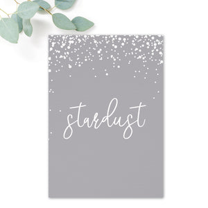 Stardust Grey Wedding Table Names