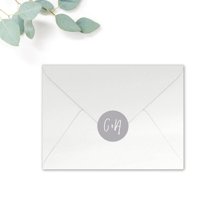 Stardust Personalised Round Wedding Seal Stickers for Envelopes