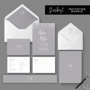 Stardust Grey Wedding Stationery Bundle