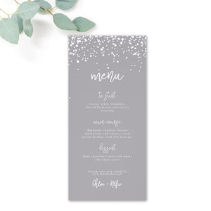 Stardust Grey Wedding Menu Card