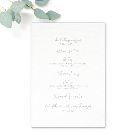 Stardust Grey Wedding Order of Service