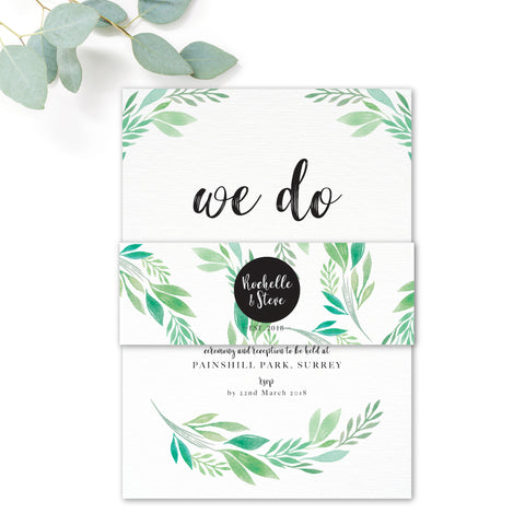 Summer-Greenery-Wedding Invitation Belly Band