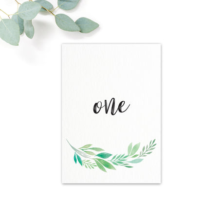 Summer Green White Foliage Table Numbers