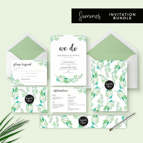 Summer-Greenery-Wedding Stationery Bundle