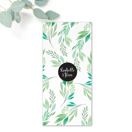 Summer Green White Foliage Wedding Menu Card