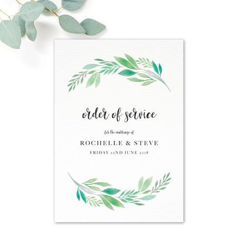 Summer Green White Foliage Order of Service