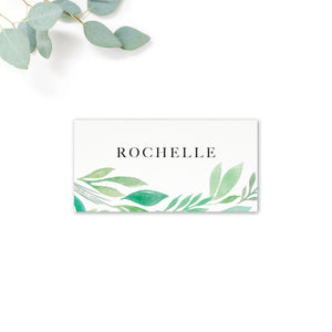 Summer Green White Foliage Place Card