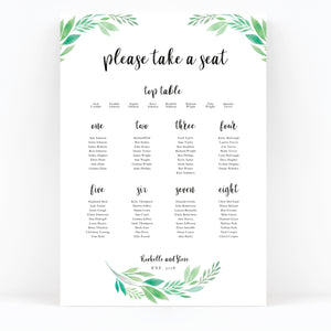 Summer Green White Foliage Wedding Table Plan
