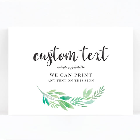 Summer Green White Foliage Wedding Sign
