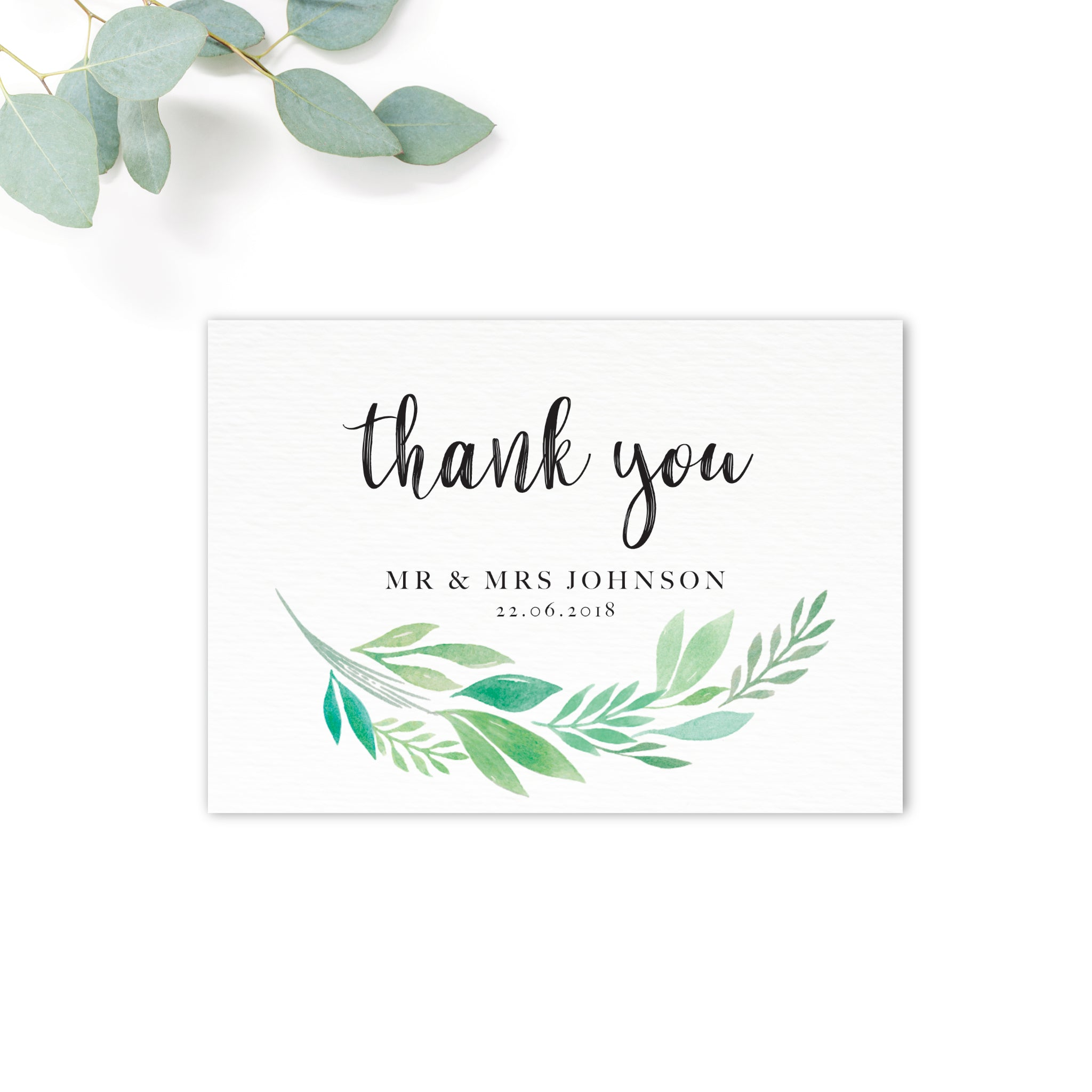 Summer Green White Foliage Thank You Card