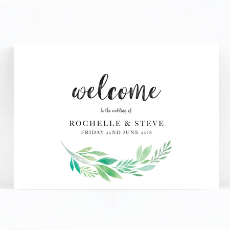 Summer Green White Foliage Wedding Welcome Sign
