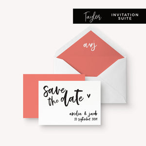 Taylor Coral Colour Pop Brush Calligraphy Wedding Save the date card
