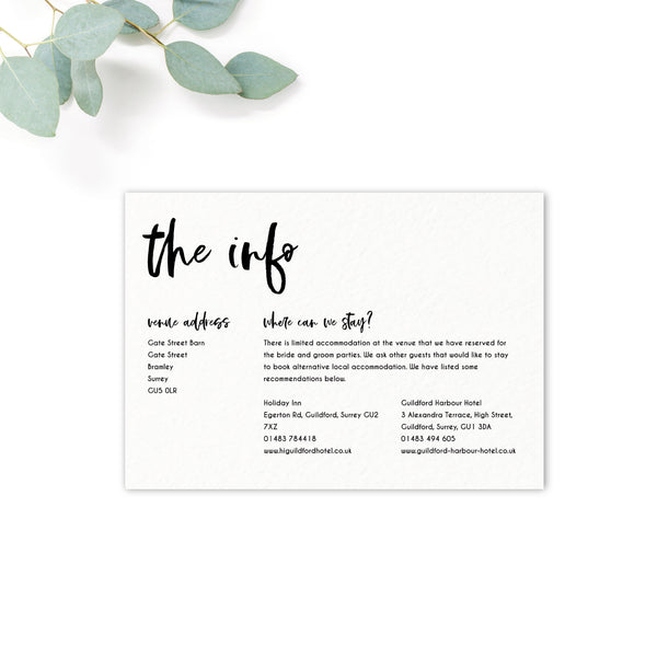 Taylor Coral Colour Pop Brush Calligraphy Wedding Invitation Information Card