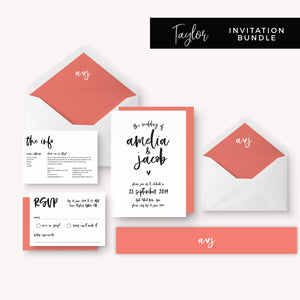 Taylor Coral Colour Pop Brush Calligraphy Wedding Invitation Bundle