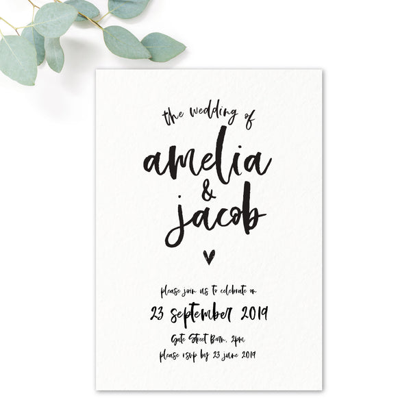Taylor Coral Colour Pop Brush Calligraphy Wedding Invitation
