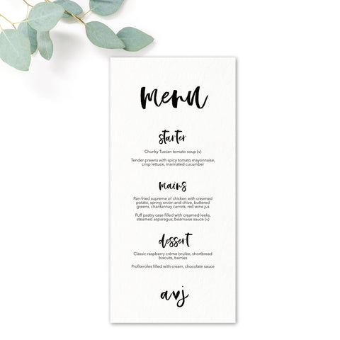 Taylor Coral Colour Pop Brush Calligraphy Wedding Menu Card