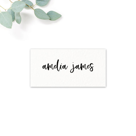Taylor Black and White Brush Calligraphy Wedding Place cards
