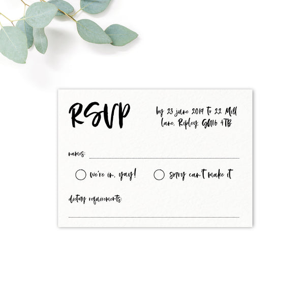 Taylor Coral Colour Pop Brush Calligraphy Wedding RSVP Card