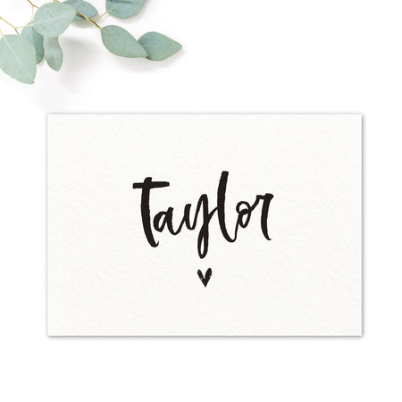Taylor Black and White Brush Calligraphy Wedding Names