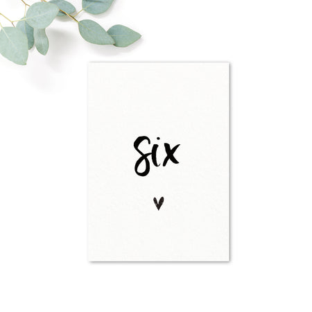 Taylor Black and White Brush Calligraphy Wedding Table Numbers