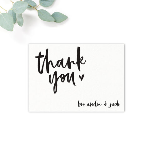 Taylor Black and White Brush Calligraphy Wedding Thank you card